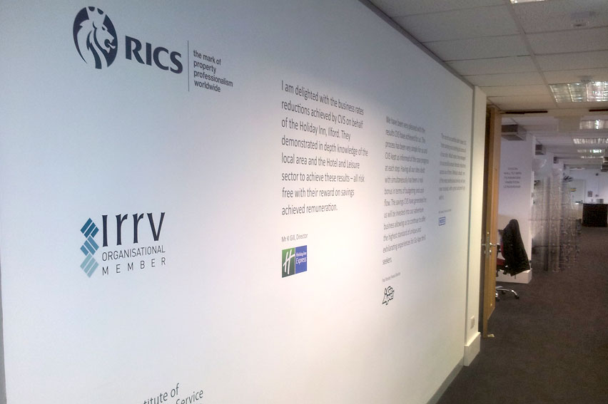 Vinyl Logos and Text. Used to great effect to produce this excellent walkway display. Ideal for offices, hotels, schools and more.