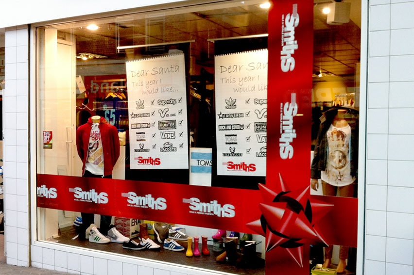Retail Window Displays. Removable vinyl messages and graphics, ideal for seasonal promotions or semi permanent graphics,