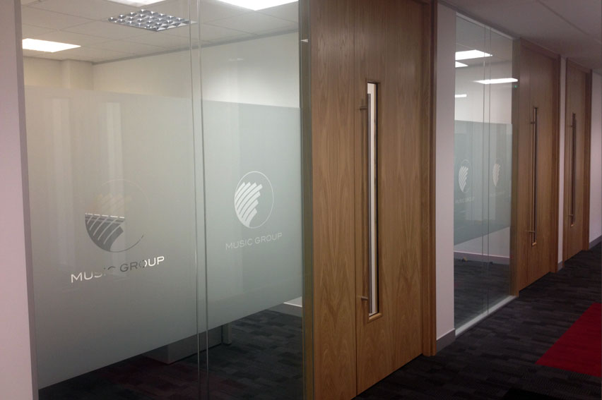 Etched Glass Vinyl. Perfect for added privacy or subtle window messages. Perfect for offices, hotels and retail.
